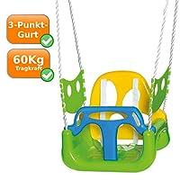 Schaukel mit Kipp-Schutz Kleinkinderschaukel mit verstellbaren Seilen, Seitenschutz, grün-gelb-blau