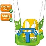 Columpio infantil con protección anticaídas con cuerdas ajustables, protección lateral, verde, amarillo y azul