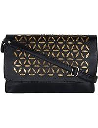 Brazeal Studio Women's Synthetic Sling Bag Black (BZ-LB-015)