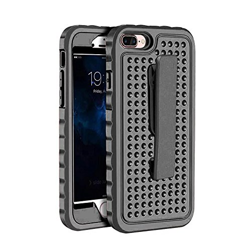 iPhone 7 Plus Hülle,Lantier Einzigartiger Anti-Rutsch Design mit Gürtel Clip Shockproof Rugged 3 in 1 Rüstung Schutzhülle für iPhone 7 Plus 5.5 inch Schwarz Belt Clip Series Black