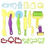 ROSENICE Knete Spielzeug 20pcs Ausstechformen DIY Küchenspielzeug für kinder Teig Werkzeuge Kit (zufällige Farbe)