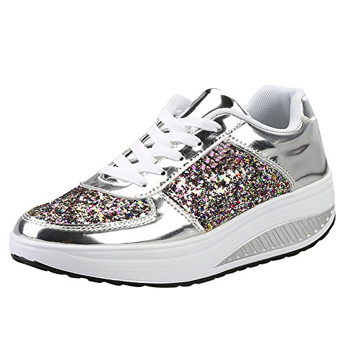 nschuhe Freizeit Schnürer Sportschuhe Pailletten Glänzende Outface Schuhe Laufschuhe Sneaker Wedges Schuhe(Silber,35 EU) ()