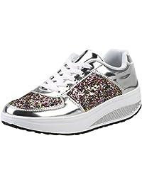 Zapatos Lentejuelas deportes con correa,Sonnena Zapatillas de mujer con cuñas de mujer con lentejuelas Zapatos de Hip-hop Zapatillas de deporte de chicas de moda