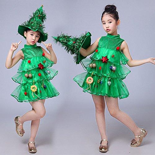 Hniunew Party Outfits Kinder Weihnachtsbaum KostüM Kleid + Hut Nachahmung GrüN Weihnachten MäDchen Karnevalskleid Festliches Kleid Leistung Cosplay Tannenbaum KinderkostüM TannenbaumkostüM