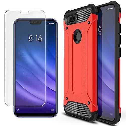 AOYIY Estuche de Batalla 2 en 1 Paquete de 2 Protectores de Pantalla, 360 Proteja su teléfono Inteligente con el Estuche Xiaomi Mi 8 Lite Funda-Rojo