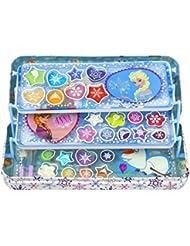 Disney Frozen Beauty Case aus Metall, ausklappbar mit drei Ebenen (Metalldose mit Beauty-Produkten für Augen und Lippen, Sticker, Pinsel), Geschenk für Mädchen