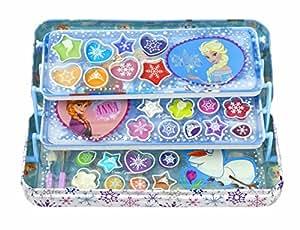 Markwins Disney Frozen/ Die Eiskönigin / Geschenk-Set: Metalldose + Make-up (Schminke) + 3 Aufkleber – für Kinder