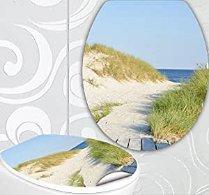 wc sitz aufkleber strand weg design folie dekor f r toilettendeckel klodeckel incl 2. Black Bedroom Furniture Sets. Home Design Ideas