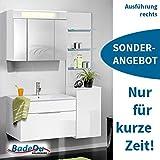 FACKELMANN Badmöbel Set Kara 5 Teile/Spiegelschrank/Keramik Waschbecken/Waschtischunterschrank/LED Bad-Regal/Unterschrank/Soft-Close/Türanschlag rechts/Korpus: Weiß/Front: Weiß