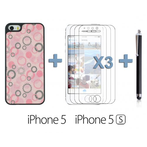 OBiDi - Sand Surface Bubble Shape Hard Back Cover Case / Housse pour Apple iPhone SE / Apple iPhone 5S / 5 - Jaune avec 3 Film de Protection et Stylet rose