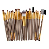 Saingace(TM) Make up Pinsel 22 STÜCKE Holz Foundation Kosmetische Augenbrauen Lidschatten Pinsel Make-Up Pinsel Sets Werkzeuge (Gold)