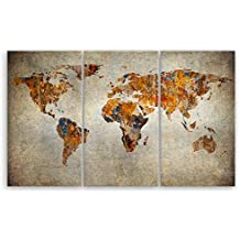 Ge Bildet Hochwertiges Leinwandbild XXL   Weltkarte Retro   Weltkarte  Leinwand   165 X 100 Cm