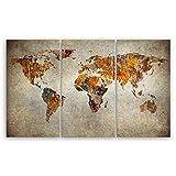 ge Bildet Hochwertiges Leinwandbild XXL - Weltkarte Retro - Weltkarte Leinwand - 165 x 100 cm mehrteilig (3 teilig)| Wanddeko Wandbild Wandbilder Wohnzimmer deko Bild | 2202 F