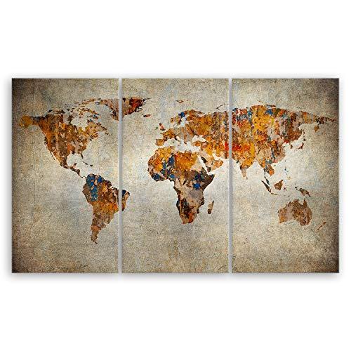 ge Bildet® hochwertiges Leinwandbild XXL - Weltkarte Retro - Weltkarte Leinwand - 165 x 100 cm mehrteilig (3 teilig) 2202 F