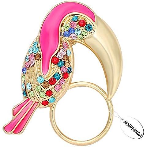 noumanda Elegante Picchio eyeglss Holder Strass Spilla Uccello donne Suit Accessori Bijoux Pin