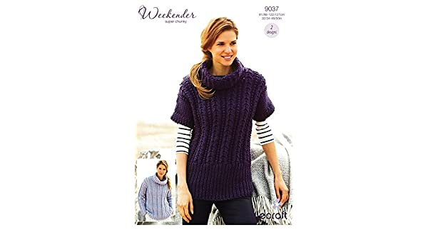 35e19d06408c56 Stylecraft 9037 Knitting Pattern Sweater and Tunic in Weekender Super Chunky   Amazon.co.uk  Kitchen   Home