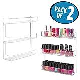mDesign porta smalti a muro – espositore smalti e prodotti per unghie elegante per il bagno con 3 ripiani – Colore: trasparente - Set da 2