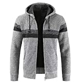 MAYOGO Strickjacke Cardigan Hoodie Zipper Elegant für Männer, Vlies Knitted Sweatshirt Herren Winter mit Fell Warm Gefüttert,Sweatjacke Freizeit Outwear Pullover Sweater (C Grau, XXXLarge)