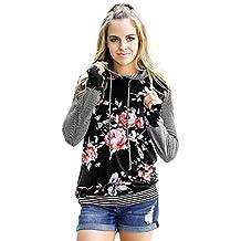 feiXIANG suéter de Mujer Camisa de Manga Larga a Rayas Florales de Mujer Camisa Suelta Sudadera