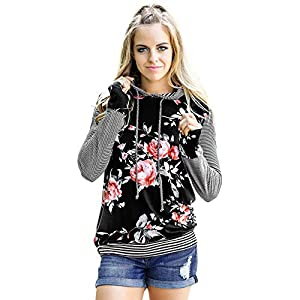Deloito Winter Damen Mode Blumen Gestreiftes Drucken Langarmshirt Lose Bluse Tops Hoodie Sweatshirt