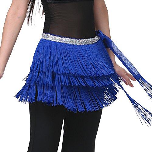 Dance Fairy Bauchtanz Hüfttuch Quaste Rock Karneval kostüm dunkelblau (70's Workout Kostüm)