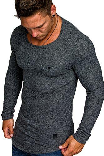 86332acd13c98b Amaci Sons Herren Basic Pullover Melange Sweatshirt Crew Neck Fein-Strick  Hoodie 6055 Anthrazit Melange XL