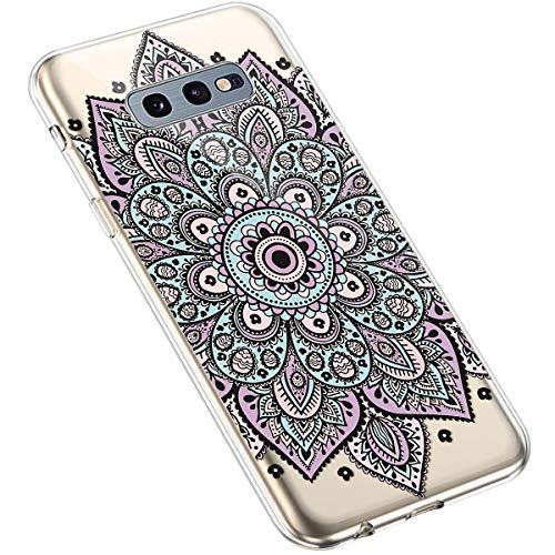 Uposao Kompatibel mit Samsung Galaxy S10e Handyhülle Transparent mit Muster Motiv TPU Silikon Schutzhülle Case Crystal Clear Handytasche Dünn Stoßfest Bumper Backcover,Lila Mandala Blumen