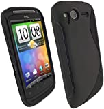iGadgitz Dual Tone Black Durable Crystal Gel Skin (Thermoplastic Polyurethane TPU) Case Cover for HTC Desire S Android Smartphone Mobile Phone + Screen Protector