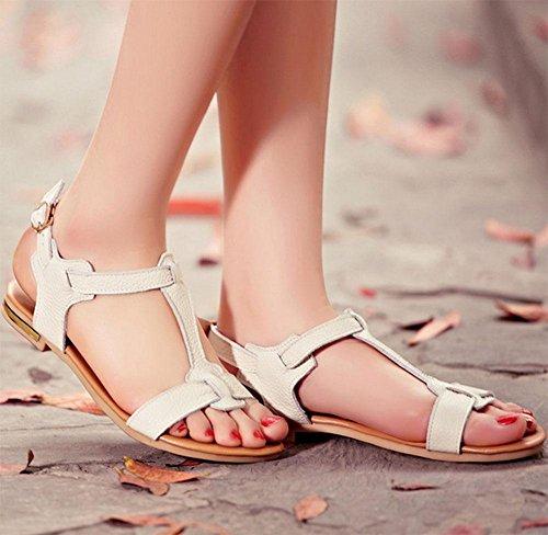Boucle de ceinture femmes sandales plates Sandales de femmes A