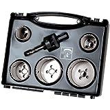 Wolfcraft 3764000 Coffret scie cloche 5 trépans Bi Metal Plus 35/40/51/65/68 Adaptateur 6 pans avec foret de centrage Coffret plastique