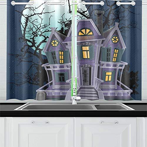 JIUCHUAN Halloween Hexe Magic House Küche Vorhänge Fenster Vorhang Stufen für Café, Bad, Wäscherei, Wohnzimmer Schlafzimmer 26 X 39 Zoll 2 Stück (Magic Halloween Hexe Cartoon)