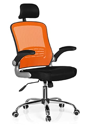 hjh OFFICE, 719610, Professional office chair, swivel, executive chair, computer chair for home and office, VENDO NET, orange, mesh, fabric, ergonomic and stylish back, thick padded seat, knee tilt mechanism, elegant swivel computer desk chair with foldable armrests,