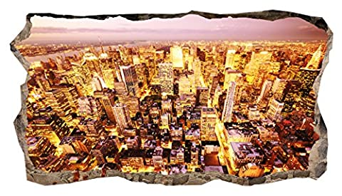 Startonight 3D Mural Wall Art Photo Golden City Amazing Dual View Surprise Large 82 x 150 cm Wall Mural Wallpaper for Living or Bedroom Urban Collection Wall Art