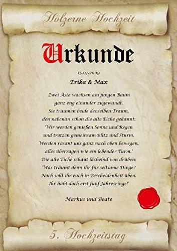 Hölzerne Hochzeit Urkunde personalisiert Geschenk Karte zum 5. Hochzeitstag Pergament div. A4 Papier Motive