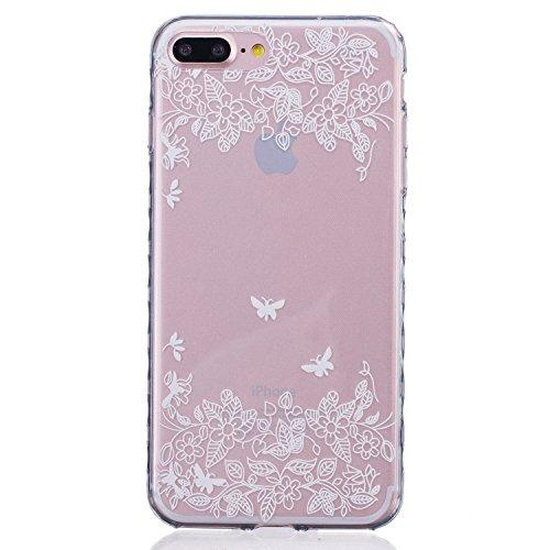 iPhone 7 Plus Hülle,iPhone 7 Plus Silikon Case,iPhone 7 Plus Cover - Felfy Ultra Dünne Weicher Slim Gel Flexible Soft TPU Silikon Hülle Schutzhülle Silikon Hülle Blumen Muster Farbmalerei Beschützer H Zwei Schmetterlinge