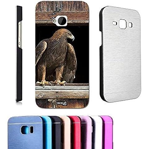 CASELABDESIGNS COVER CASE ALLUMINIO AQUILA FINESTRA PER HTC ONE M7 METALLO - COPERTURA MASSIMA PROTEZIONE (1 Posteriore Finestra Grafica)