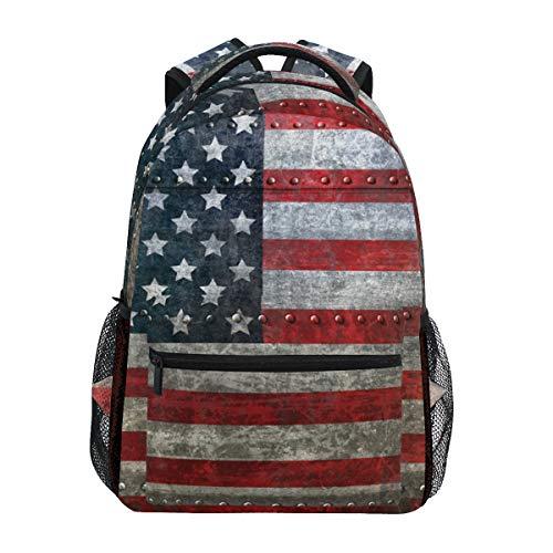Zaino vintage con bandiera americana, stile casual, per studenti, viaggi, escursioni, campeggio, laptop
