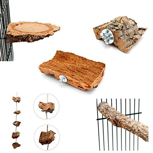 5- teiliges Kork Set | Tolles Vogelspielzeug für Wellensittich, Nymphensittich & Co. | Korkbrett 20x10cm, Kork-Knabberseil, Korkpickstein, Korksitzbrettchen, Korksitzstange | Original Vogelgaleria Produkt