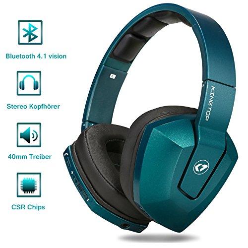 Bluetooth Kopfhörer, KINGTOP Bluetooth Headset, Faltbares Over Ear Headset, Bluetooth 4.1, 20 Stunden Spielzeit, schnelle Aufladung, Super Bass, Stereo HiFi mit Mikrofon und 3.5 mm Audioeingang.