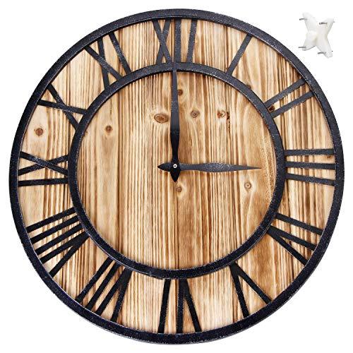 Wifzu orologio da parete grande in numeri romani al quarzo 40,6cm–silent sweep non-ticking decorativo retrò grande orologio rotondo in legno per gift-black 'iron' (40cm di diametro)