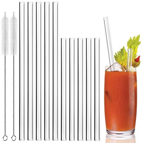 MELLIEX Glas Strohhalm Wiederverwendbar Glas Trinkhalme Eco Nachhaltige Strohhalme Für Cocktail Smoothie Tee, 10er Set Mit 2 Reinigungsbürsten, 10 Gerade