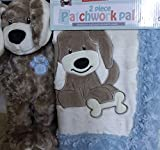 Little Miracles Patchwork Pal Reversible Applique Blanket and Plush - Puppy Dog