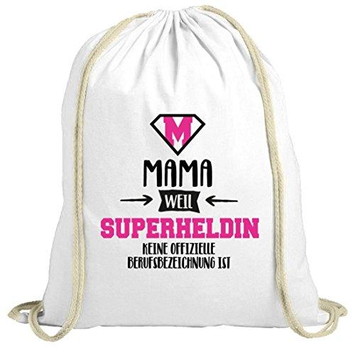 Geburtstags,- Muttertagsgeschenk natur Turnbeutel mit Mama - Superheldin Motiv weiß natur
