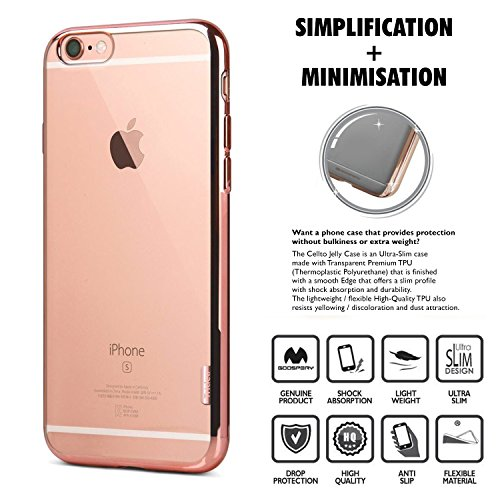 iPhone 6S Case, Cellto Thin TPU [0.33 mm] [Precision Fit] Soft Flex [Anti Slip] Silicone Cover for Apple iPhone 6S / iPhone 6 - Clear Glitter Rose Gold Border