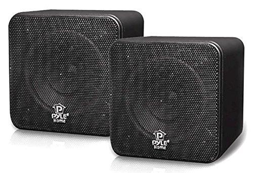 Pyle Home PCB4BK 4-Inch 200-Watt Mini Cube Bookshelf Speaker (Black) (Pair)  available at amazon for Rs.5827