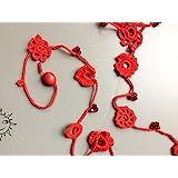 ACCESSORI SOLELUNA - collana rossa a uncinetto con cristalli - pezzo unico