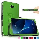 Samsung Galaxy Tab A 10.1 Hülle Case, Infiland Slim Fit Folio PU-lederne dünne Kunstleder Schutzhülle Cover Tasche für Samsung Galaxy Tab A 10.1 Zoll (2016) Tablet-PC(mit Auto Schlaf / Wach Funktion)(Grün)