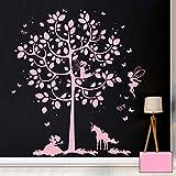 ilka parey wandtattoo-welt Wandtattoo Wandbild Wandaufkleber Wandsticker Aufkleber Sticker Baum mit Feen und Einhorn M2015 - ausgewählte Farbe: *rosa* ausgewählte Größe: *L - 88cm breit x 97cm hoch*