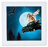 3dRose Fairy Dragon Fantasy mit Mond und Eulen, Quilt,