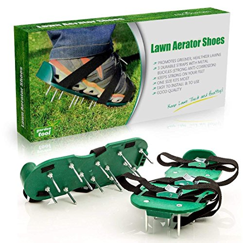 auvstar lose Boden Nail Schuhe, Rasenbelüfter Spike Schuhe–Für effektiv Rasen erdelüftung–wird mit 3verstellbare Gurte mit Metallschnallen–Universal Größe,